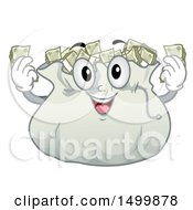 Clipart Of A Money Bag Character With Cash Royalty Free Vector Illustration