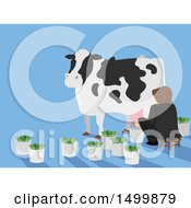 Clipart Of A Person Milking A Cash Cow Royalty Free Vector Illustration