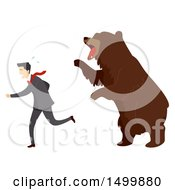 Clipart Of A Businessman Being Chased By A Bear Stock Market Concept Royalty Free Vector Illustration