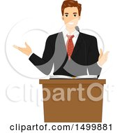 Clipart Of A Male Pastor Preaching At A Lectern Royalty Free Vector Illustration