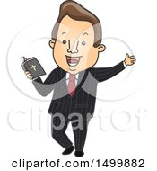 Clipart Of A Male Preacher Holding A Bible Royalty Free Vector Illustration
