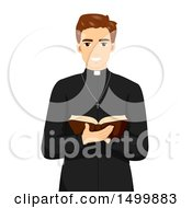 Clipart Of A Smiling Priest Holding An Open Bible Royalty Free Vector Illustration