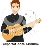 Clipart Of A Priest Playing A Guitar And Singing Royalty Free Vector Illustration