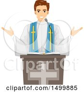Clipart Of A Male Priest Speaking During Mass Royalty Free Vector Illustration