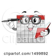 Clipart Of A Calendar Mascot Holding A Book And Pen Royalty Free Vector Illustration