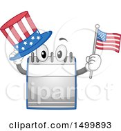 Desk Calendar Mascot Holding An American Top Hat And Flag