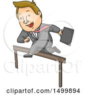 Clipart Of A Cartoon Business Man Leaping A Hurdle Royalty Free Vector Illustration by BNP Design Studio