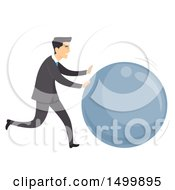 Clipart Of A Business Man Rolling A Giant Ball Royalty Free Vector Illustration