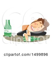 Clipart Of A Drunk Businessman Passed Out At His Desk Royalty Free Vector Illustration