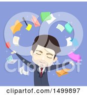 Clipart Of A Busines Man Surrounded By Icons Royalty Free Vector Illustration