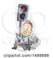 Business Man Running And Jaywalking On A Crosswalk