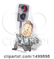 Clipart Of A Business Man Running And Jaywalking On A Crosswalk Royalty Free Vector Illustration
