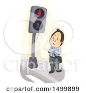 Clipart Of A Business Man Waiting Impatiently At A Crosswalk Royalty Free Vector Illustration