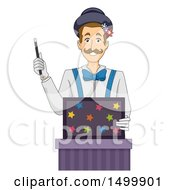 Clipart Of A Magician Holding A Magic Wand And A Box Royalty Free Vector Illustration