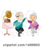 Clipart Of A Senior Couple Dancing By A Gramophone Royalty Free Vector Illustration