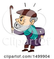 Clipart Of A Grumpy Old Man Waving His Cane Royalty Free Vector Illustration