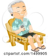 Poster, Art Print Of Relaxed Senior Man Listening To Music In A Becah Chair