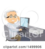 Clipart Of A Senior Man Smiling And Using A Computer With A Stack Of Newspapers On His Desk Royalty Free Vector Illustration