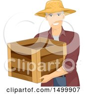 Clipart Of A Senior Male Farmer Carrying A Crate Royalty Free Vector Illustration