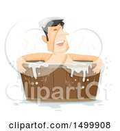 Clipart Of A Man Soaking In A Wooden Tub Royalty Free Vector Illustration by BNP Design Studio