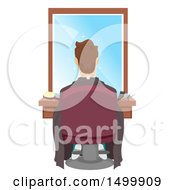 Clipart Of A Client Sitting In A Barber Chair Royalty Free Vector Illustration