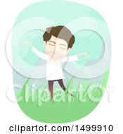 Clipart Of A Carefree Spiritual Man Outdoors Royalty Free Vector Illustration by BNP Design Studio