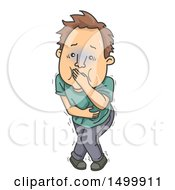 Clipart Of A Sick Man Holding His Vomit In His Mouth Royalty Free Vector Illustration by BNP Design Studio
