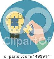 Poster, Art Print Of Hand Assembling A Light Bulb Jigsaw Puzzle