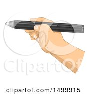Clipart Of A Hand Writing With An Interactive Whiteboard Pen Royalty Free Vector Illustration