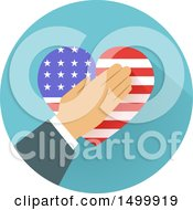 Poster, Art Print Of Hand Over An American Flag Heart In A Circle