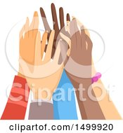 Poster, Art Print Of Group Of Hands Doing A Team High Five