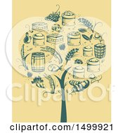 Clipart Of A Retro Tree Formed Of Agricultural Icons Royalty Free Vector Illustration by BNP Design Studio