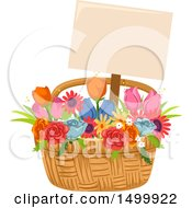 Poster, Art Print Of Flower Basket With A Sign