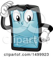 Clipart Of A Broken Tablet Computer Character Mascot Royalty Free Vector Illustration