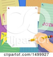 Clipart Of A Hand Signing A Club Poster On A Bulletin Board Royalty Free Vector Illustration