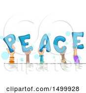Clipart Of Hands Holding Up Letters And Spelling Peace Royalty Free Vector Illustration by BNP Design Studio