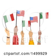 Hands Holding Up American And Italian Flags