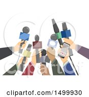 Clipart Of A Crowd Of Reporters Holding Out Microphones Royalty Free Vector Illustration