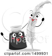 Clipart Of A Feather Quill Pen And Ink Bottle Waving Royalty Free Vector Illustration