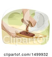 Clipart Of A Pair Of Hands Using A Bow Drill To Make Fire Royalty Free Vector Illustration by BNP Design Studio