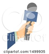 Clipart Of A Journalist Reporter Hand Holding A Microphone Royalty Free Vector Illustration