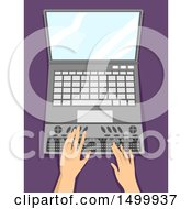 Clipart Of A Pair Of Hands Typing On A Braille Keyboard Laptop Computer Royalty Free Vector Illustration