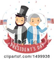 Clipart Of A Presidents Day Banner With Abraham Lincoln And George Washington Royalty Free Vector Illustration