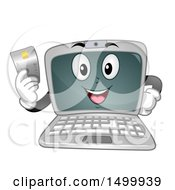Clipart Of A Laptop Computer Mascot Character Holding A Credit Card Royalty Free Vector Illustration