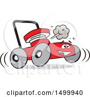 Clipart Of A Cartoon Red Happy Lawn Mower Royalty Free Vector Illustration by Johnny Sajem