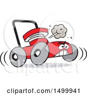 Cartoon Red Angry Lawn Mower