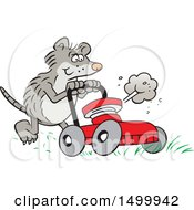 Clipart Of A Cartoon Possum Pushing A Red Lawn Mower Royalty Free Vector Illustration
