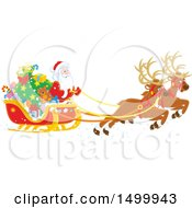 Clipart Of A Christmas Sleigh With Flying Reindeer And Santa Royalty Free Vector Illustration