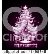Clipart Of A Merry Christmas Greeting Under A Pink Glowing Tree On Black Royalty Free Vector Illustration by AtStockIllustration