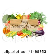 Poster, Art Print Of Wooden Happy Thanksgiving Sign Framed In Produce Vegetables